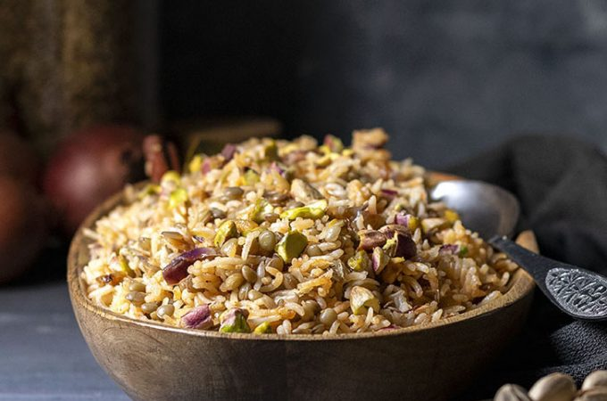Lebanese Rice and Lentil Pilaf (Mujadara) - Vegan feat