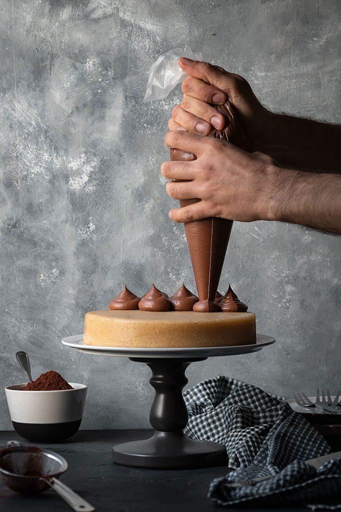 Greek Halva Cake with Whipped Chocolate Ganache – Vegan