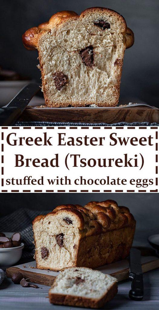 Chocolate stuffed Greek Easter bread (Tsoureki gemisto) 6
