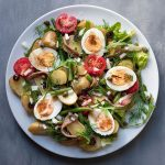 Healthy Mediterranean potato salad with boiled eggs (Nicoise) feat.