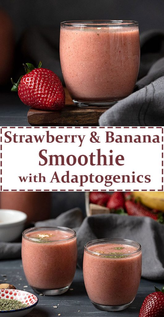 Banana strawberry smoothie recipe with adaptogens 7