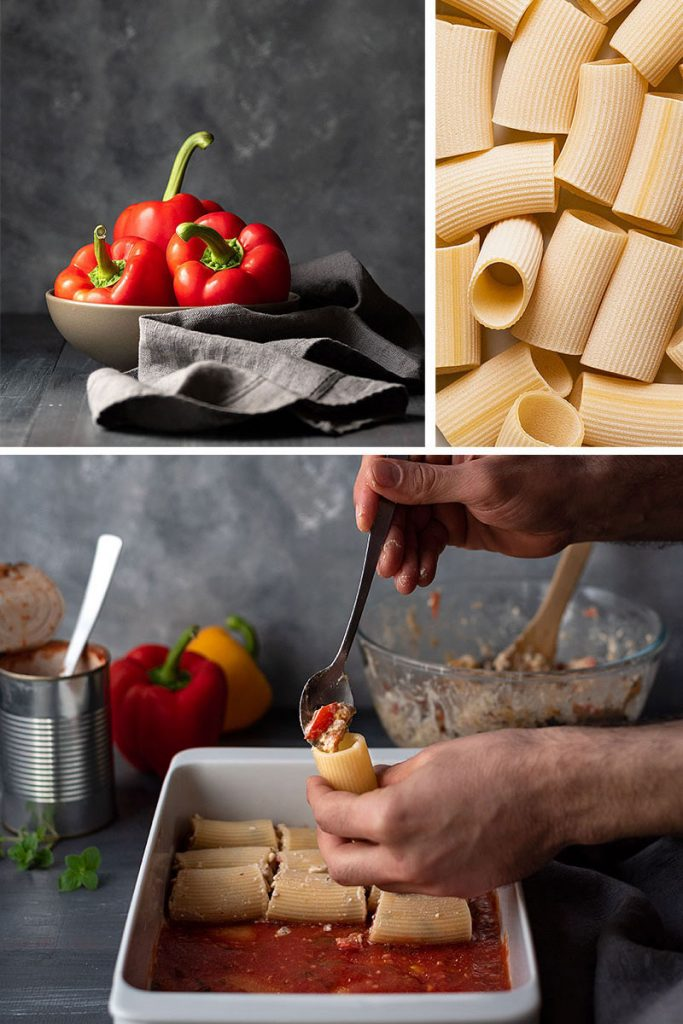 Paccheri (or manicotti) recipe with feta cheese and 10peppers