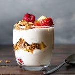 Yogurt parfait recipe with honey and fruits feat
