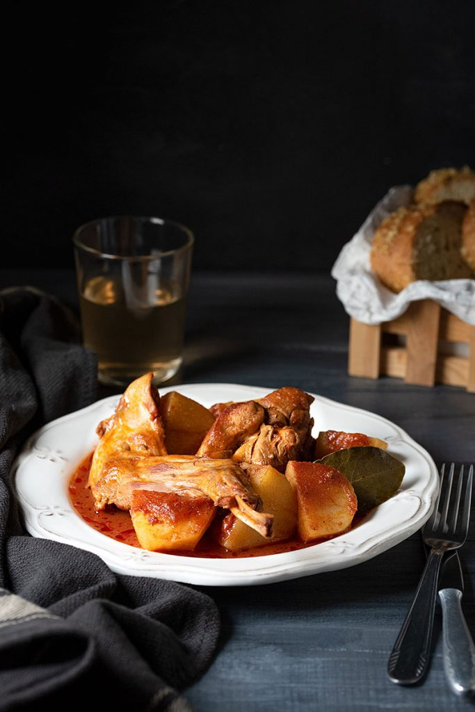 greek rabbit stew in wine sauce 1