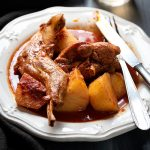greek rabbit stew in wine sauce feat