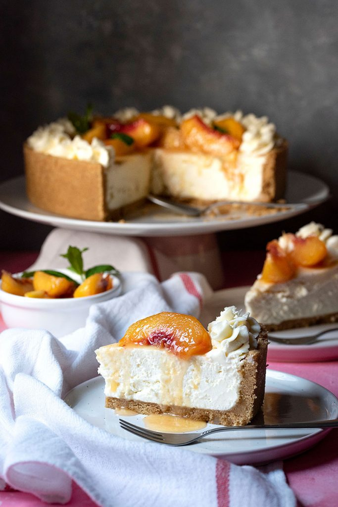 easy no bake cheesecake recipe with sateed peaches 3