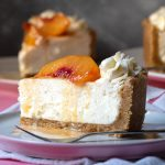 easy no bake cheesecake recipe with sateed peaches feat