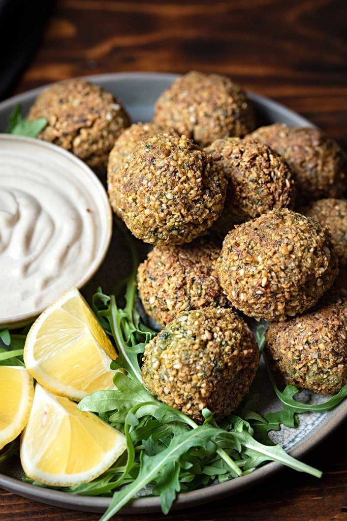 baked or fried falafel with tahini sauce
