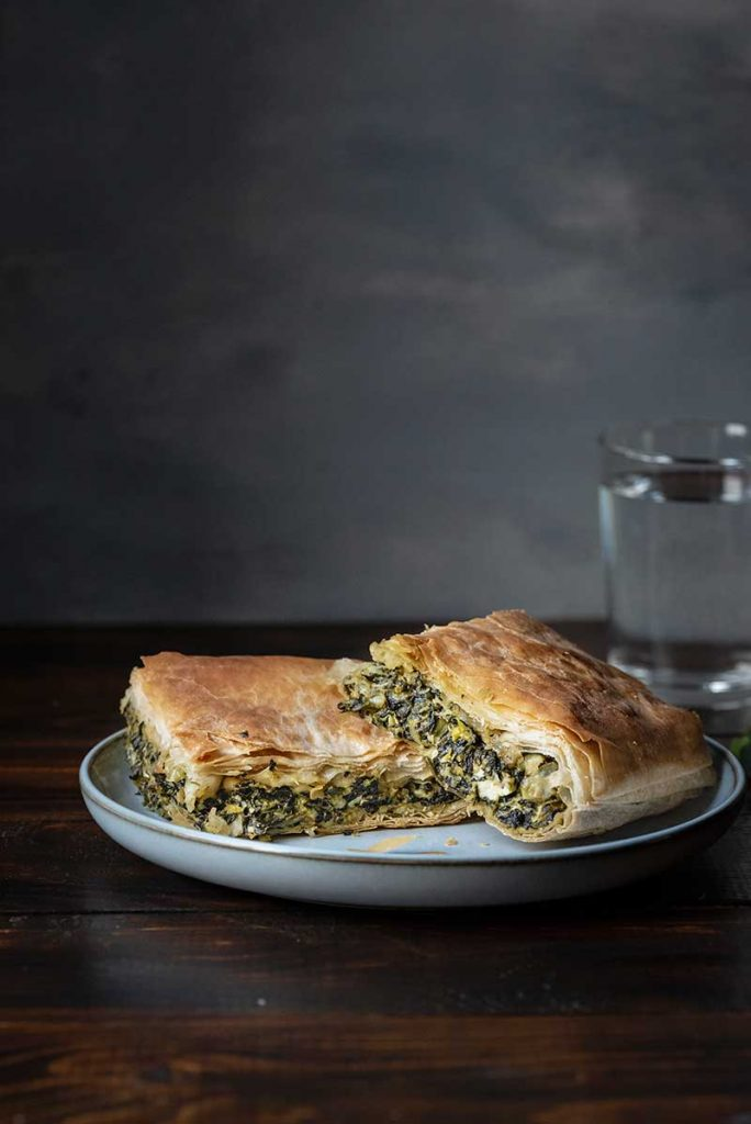 Greek spinach pie on a plate