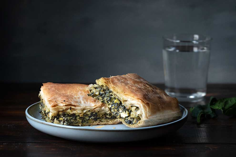 2 pieces of spinach pie