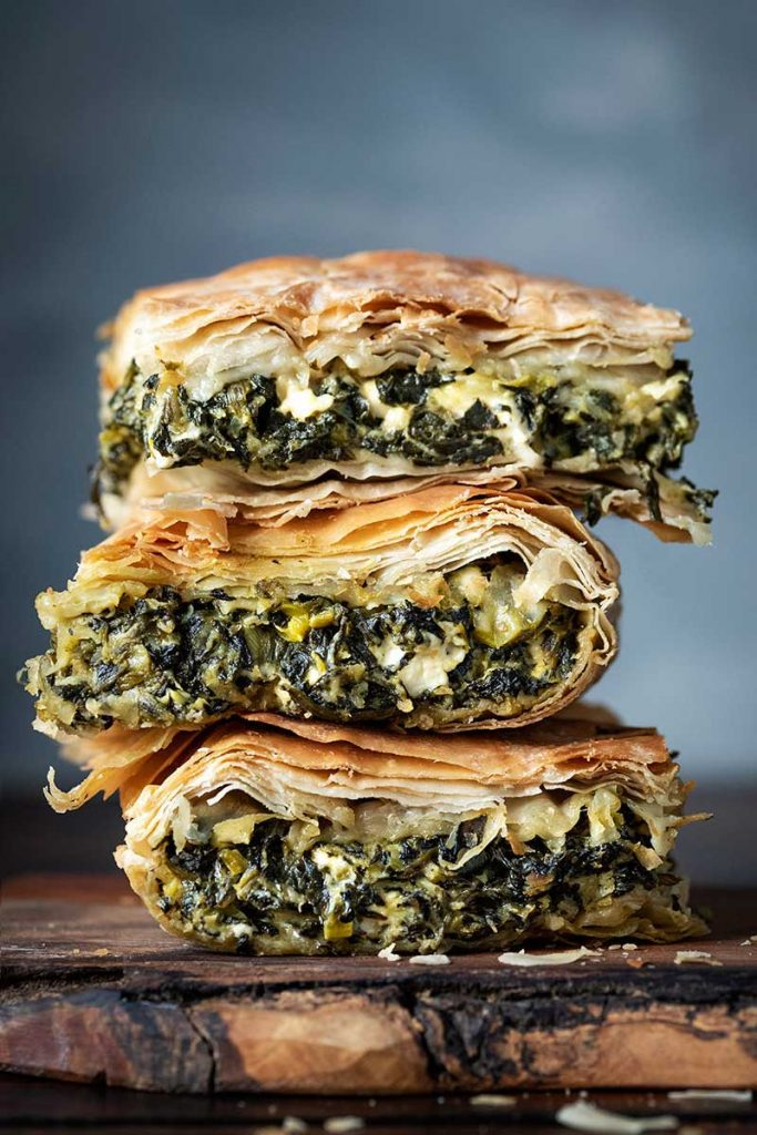 Greek spinach pie served