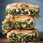 Spanakopita spinach pie slices
