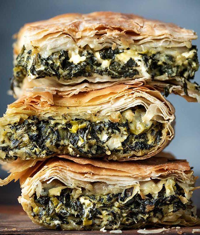 Spanakopita spinach pie slices