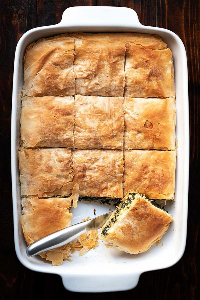 Greek Spanakopita in a pan