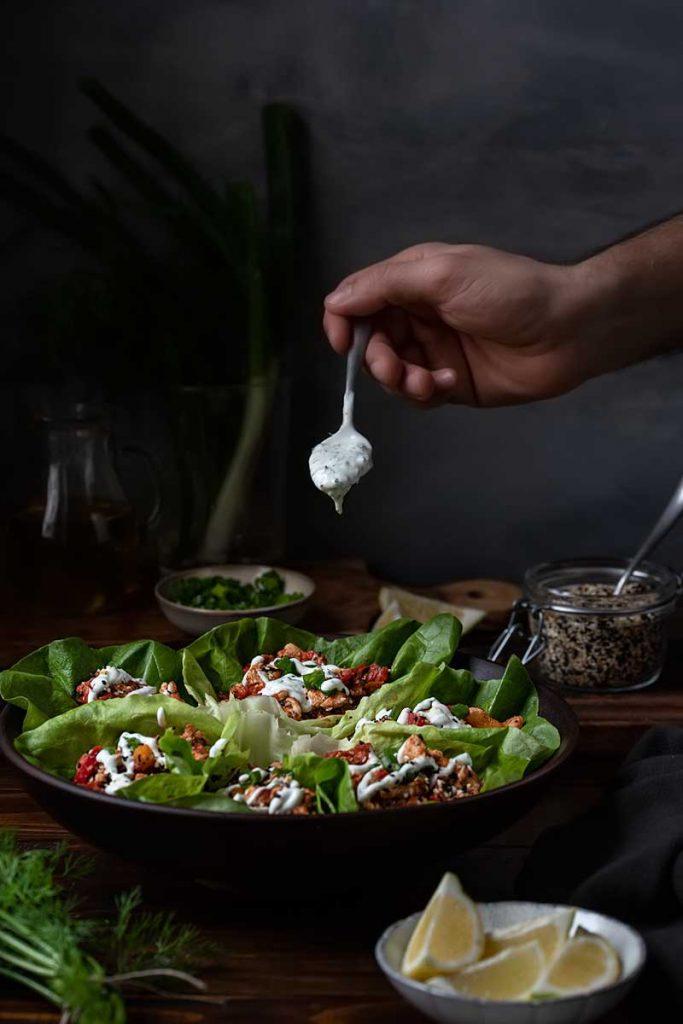chicken lettuce wraps in a bowl