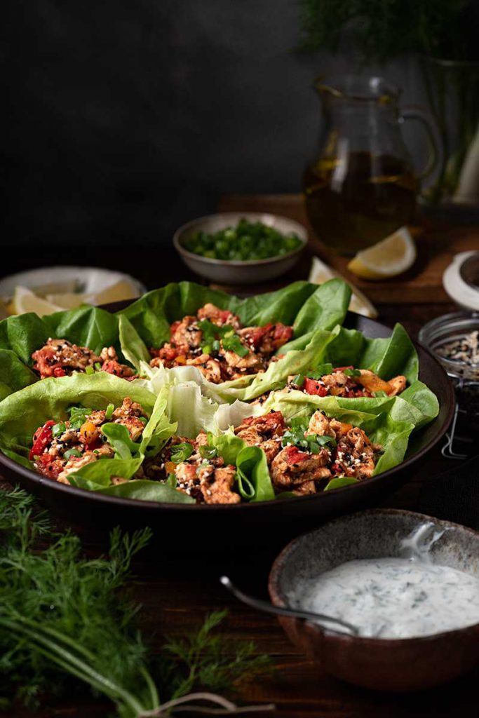 chicken lettuce wraps mediterranean style
