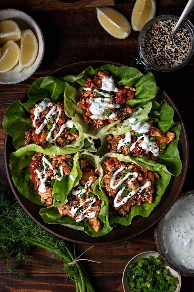 healthy chicken lettuce wraps with yogurt